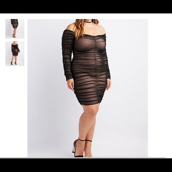 27b44cb1c423 Charlotte Russe Dresses | Mesh Ruched Bodycon Dress 3x | Poshmark